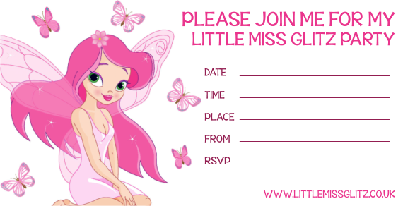 click here to download a little miss glitz party invitation - Pamper Party Invitations